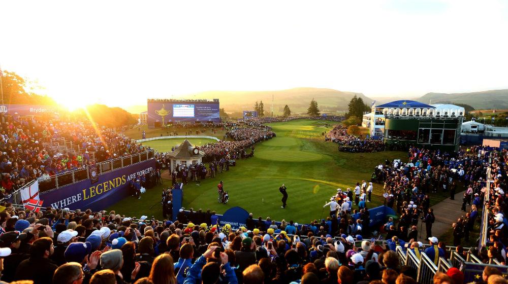 Trou 1 à la Ryder Cup 2014 à Gleneagles sur le parcours PGA Centenary en Ecosse
