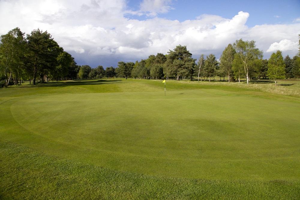 Un large green du golf de Ladybank.