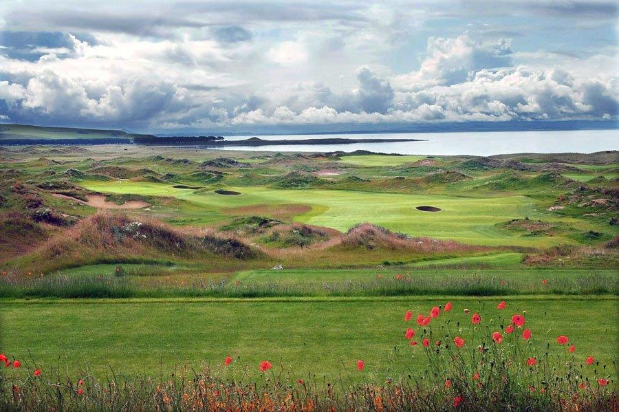 Départ sur le parcours de golf de Dumbarnie Links en Ecosse proche de St Andrews