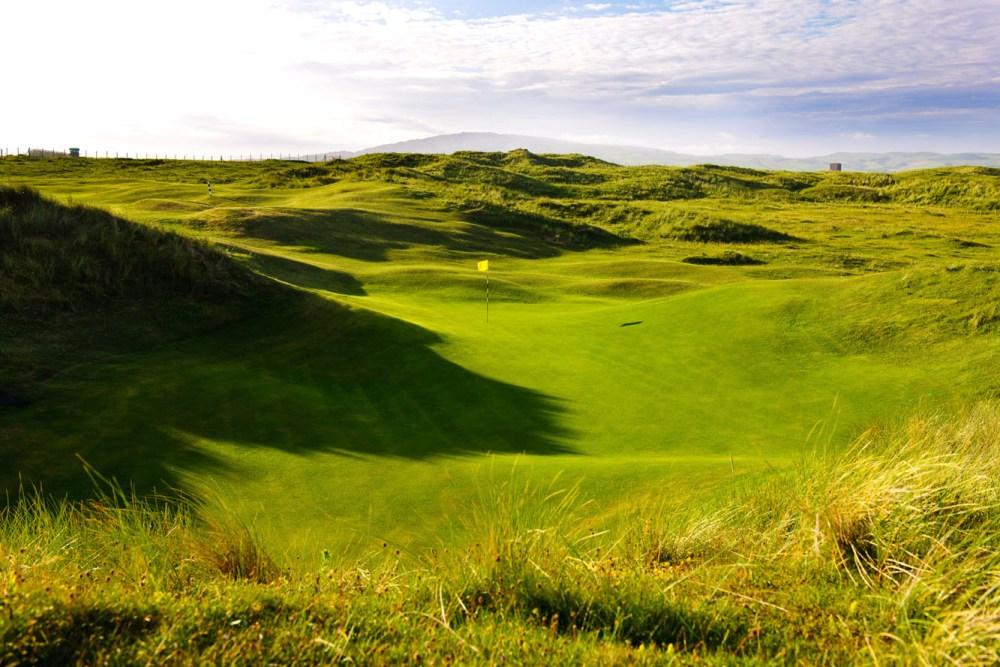 Large green et dunes sur le parcours de Machrihanish Dunes