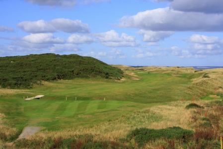 Fairway du trou n°7 sur le parcours de golf de Murcar à Aberdeen en Ecosse