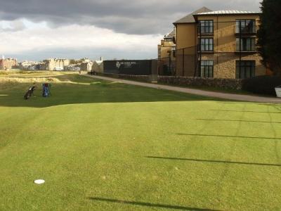 Départ du 17ème trou du golf Old Course à St Andrews en Ecosse