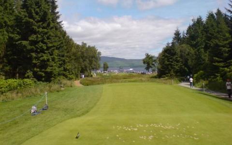 Départ du 5  sur le parcours du Loch Lomond lors de l'Open d'Ecosse