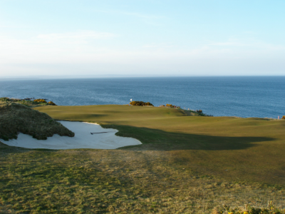 Vue green et mer sur le Castle Course à St Andrews