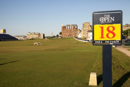Départ du 18 pendant le British Open sur le golf Old Course à St Andrews en Ecosse
