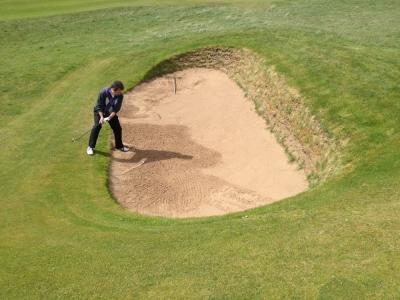 Sortie de bunker sur le parcours de Prestwick