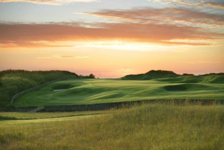 Coucher de soleil sur le green lors du SSE Scottish Senior open